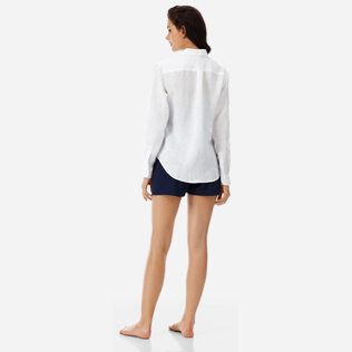 Women Shirts Solid - Solid Linen Boyfriend shirt, White backworn