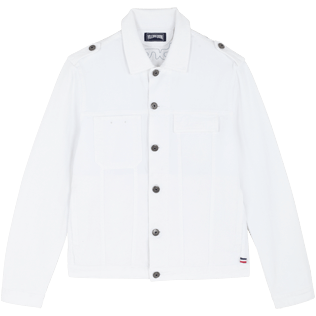 Men Others Solid - Men White Denim Tracker Jacket, White front