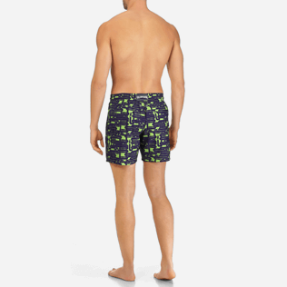 Men Classic / Moorea Printed - Men Lightweight and Packable Swimtrunks Eels Knitting, Wasabi backworn