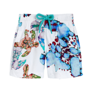 Boys Others Printed - Boys Swim Trunks Stretch Watercolor Turtles, White front