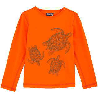 049 Printed - Galuchat Turtle Anti-UV long sleeves T-Shirt, Papaya front