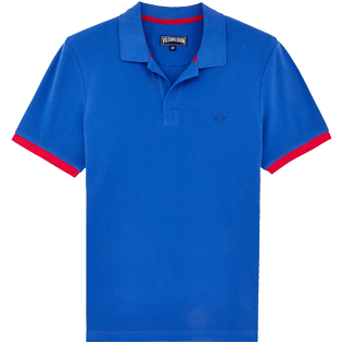 Men Others Solid - Men Cotton Pique Polo Shirt Solid, Sea blue front