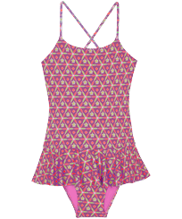 Girls Others Printed - Girls One-piece Swimsuit Indian Ceramic, Pink berries front