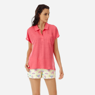 Women Others Solid - Women Linen Polo Shirt Solid, Hibiscus frontworn