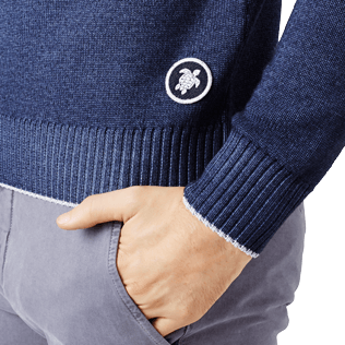 Men Others Solid - Men Wool Crewneck, Navy supp1