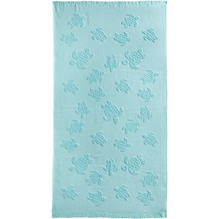 Towels Solid - Fouta with fringes Turtles pattern, Frosted blue front