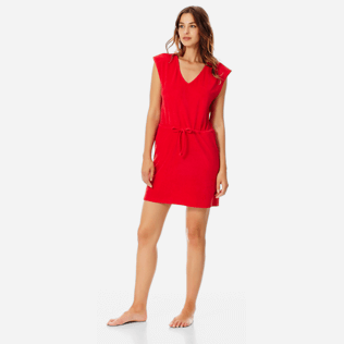 Women Others Solid - Women Short Cotton Dress Solid, Red polish frontworn