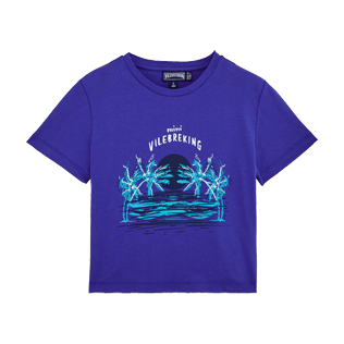 Boys Tee-Shirts Printed - Boys Cotton T-shirt Mini Vilebreking, Neptune blue front