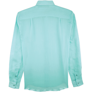 Others Solid - Unisex Linen Voile Shirt Solid, Lagoon back