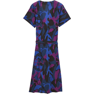 Women Dresses Printed - Camouflage Turtles Wrap-Around Dress, Plum back