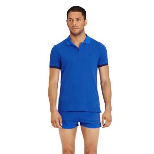 Men Others Solid - Men Cotton Polo Shirt Solid, Royal blue frontworn