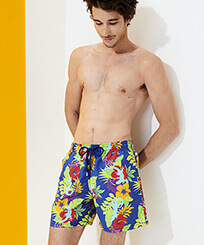 Men Classic Printed - Men Swim Trunks Les Geckos, Batik blue frontworn