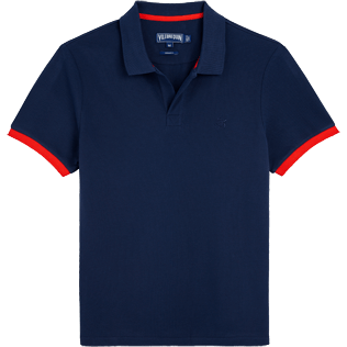 Men Others Solid - Men Cotton Pique Polo Shirt Solid, Navy / red front