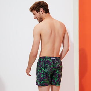 Men Stretch classic Printed - Men Stretch Swim Trunks Madrague, Grass green backworn