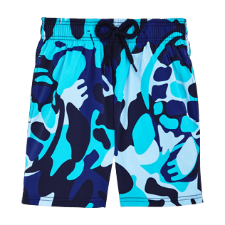 Boys Classic / Moorea Printed - Camouflage Turtles Superflex Swim Shorts, Azure front