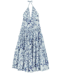 Women Others Printed - Women Cotton Dress Cherry Blossom, Sea blue front