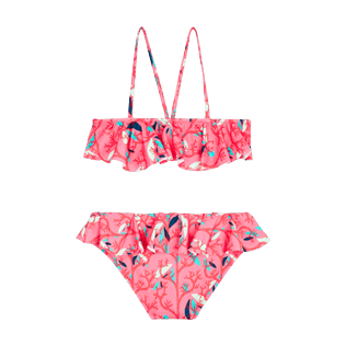 Girls Others Printed - Girls Swimsuit Brassiere Two Pieces Turtles Song, Cherry blossom back