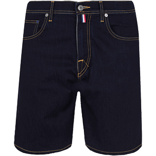 Men Others Solid - Men 5-Pocket Denim Bermuda Shorts, Dark denim w1 front