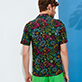 Uomo Altri Stampato - Camicia uomo bowling in cotone e lino Evening Birds, Nero backworn