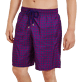 Men Long classic Printed - Men Swimtrunks Long Ultra-light and Packable Perspective Fish, Plum supp1