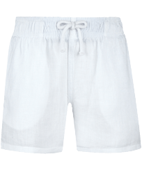 Boys Others Solid - Linen Boys Shorts Bermuda Solid, White front