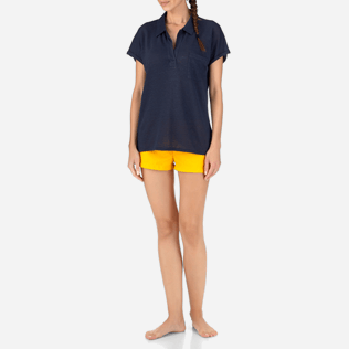 Women Others Solid - Solid Linen Jersey Polo, Navy frontworn