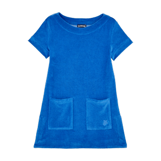 Girls Others Solid - Girls Terry Cloth Dress Solid, Sea blue front