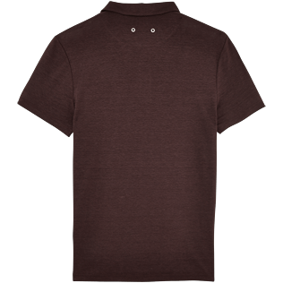 Men Polos Solid - Solid Linen jersey polo, Chocolate back
