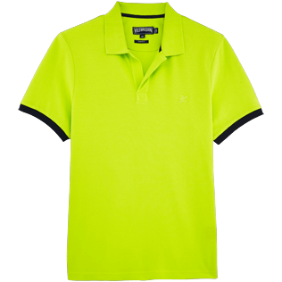 Men Polos Solid - Cotton pique polo, Lemongrass front