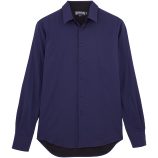 Men Shirts Solid - Bicolor Cotton veil shirt, Navy front