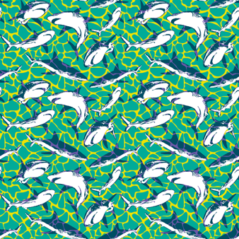 Men Swim Trunks Stretch Sharks - Web Exclusive, Veronese green pattern