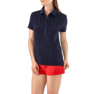 Women Polos Solid - Solid Terry Polo, Navy supp2