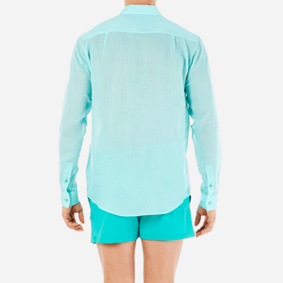 Others Solid - Unisex Linen Voile Shirt Solid, Lagoon supp2