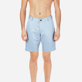Men Others Solid - Men Straight Linen Cotton Bermuda Shorts Solid, Sky blue supp1