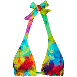 Women Triangle Printed - Women Triangle to be tied Bikini Top Holi Party, Batik blue front