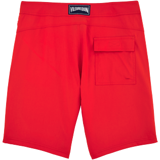 Men Long Solid - Solid Superflex Long fitted cut Swim shorts, Poppy red back