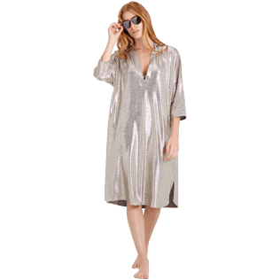 Mujer Autros Liso - Women Lurex mesh Beach Cover-up Solid, Oro supp2