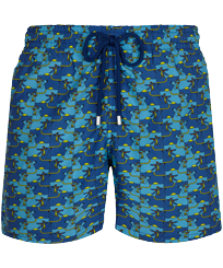 Men Classic Printed - Men Swimwear Cows Puzzle, Batik blue front