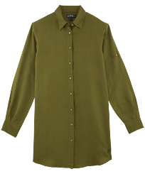 Women Others Solid - Women Long Linen Shirt Solid, Khaki front