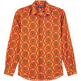 Others Printed - Unisex Cotton Voile Summer Shirt 1975 Rosaces, Apricot front