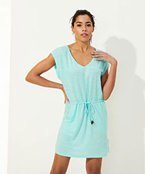 Women Others Solid - Women Linen V collar Dress Solid, Lagoon frontworn
