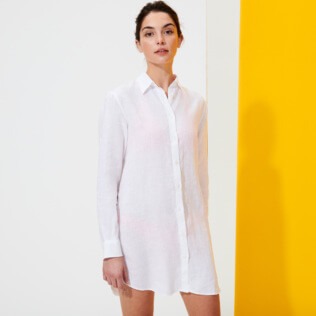 Women Others Solid - Women Long Linen Shirt Solid, White frontworn