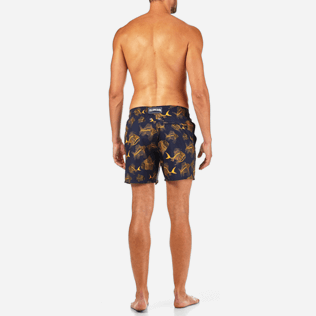Men Ultra-light classique Printed - Prehistoric Fish Lightweight Packable Swim shorts, Navy backworn