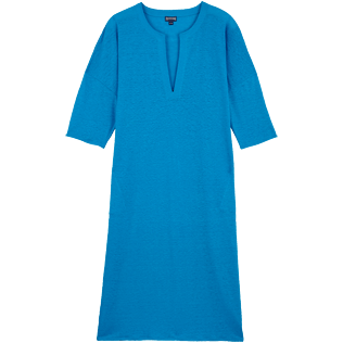 Women Others Solid - Women Linen Beach Cover-up Solid, Hawaii blue front