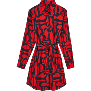 Women Dresses Printed - Silex Fishes Long dress shirt, Poppy red front