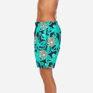 Men Long Printed - Octopussy et Coquillages Long Cut Swim shorts, Navy supp3