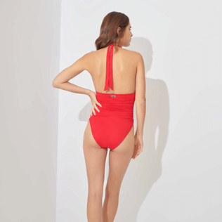 Women Bandeau Solid - Women One piece Swimsuit Solid, Strawberry backworn