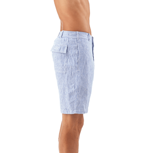 Men Shorts Graphic - Micro Stripes Straight bermuda, Ultramarine supp1