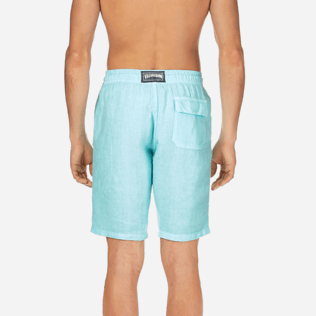 Men Others Solid - Men Italian Pockets Linen Bermuda Shorts Solid, Lagoon supp2