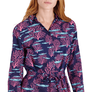 Women Others Printed - Women Cotton Voile Shirt Dress Coral & Fish, Navy supp1